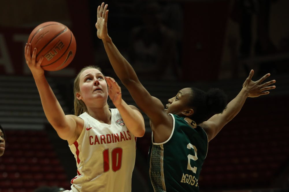 <p>Ball State Cardinals junior forward Thelma Dis Agustsdottir drives to the basket in the first half of a home game against the Eastern Michigan Eagles Dec. 2, 2020, at John E. Worthen Arena. The Cardinals lost to the Eagles 77-58. <strong>Jacob Musselman, DN</strong></p>