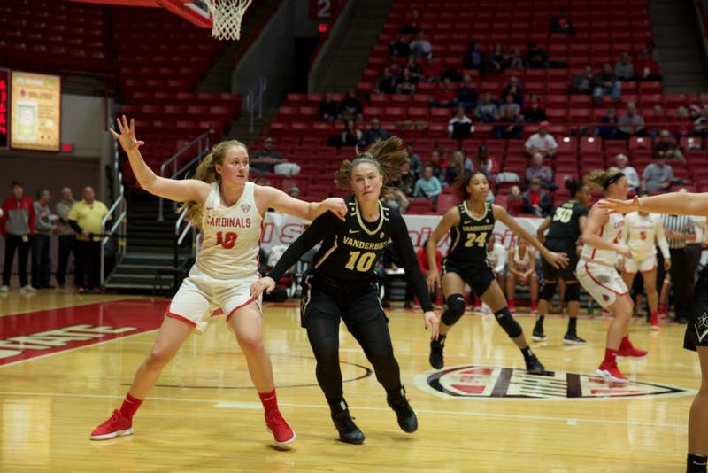Freshman forward Thelma Dis Agustsdottir guards a Vanderbilt forward during a game against Vanderbilt on Dec 6, 2018 at Worthen Arena. The Cardinals would fall, 60-43. Gabi Glass,DN
