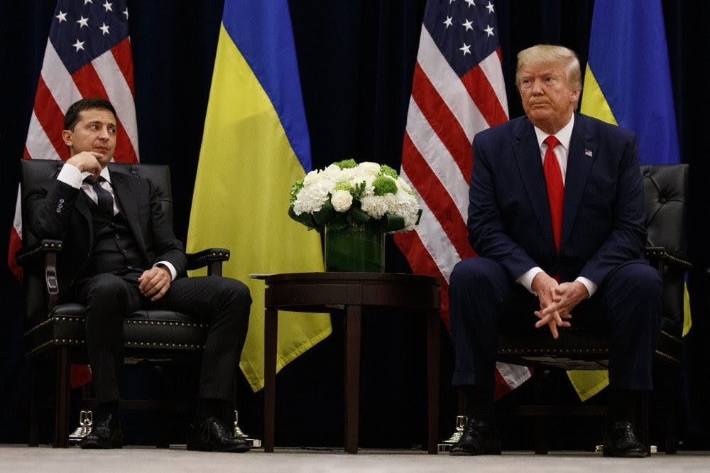 """<p>In this Sept. 25, 2019, file photo, President Donald Trump meets with Ukrainian President Volodymyr Zelenskiy at the InterContinental Barclay New York hotel during the United Nations General Assembly, in New York. It's the story of a president who either had a """"perfect phone call"""" with Ukraine or abused his power and should be removed from office. What to watch as presidential impeachment arguments get underway in the Senate for only the third time in American history. <strong>(AP Photo/Evan Vucci, File)</strong></p>"""