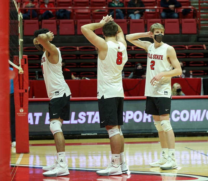 Junior middle attacker Felix Egharevba, graduate student outside attacker Blake Reardon and junior outside attacker Kaleb Jenness wait for the ball to be served Feb. 20, 2021, at John E. Worthen Arena. Ball State won against the Lions 3-0. Jaden Whiteman, DN