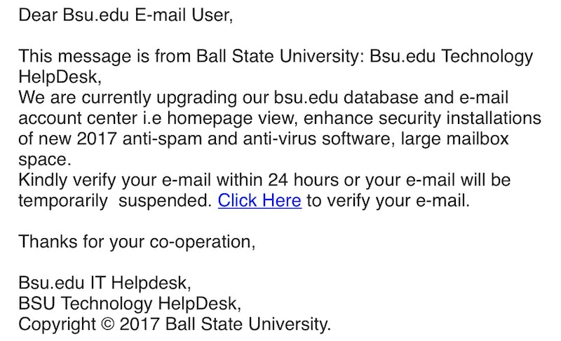 Fraud emails target universities, Ball State