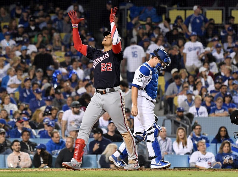 The Washington Nationals' Juan Soto celebrates as he crosses home plate after hitting a solo home run to tie the game against the Los Angeles Dodgers in the eighth inning during Game 5 of the National League Division Series at Dodger Stadium in Los Angeles on Wednesday, Oct. 9, 2019. (Wally Skalij/Los Angeles Times/TNS)