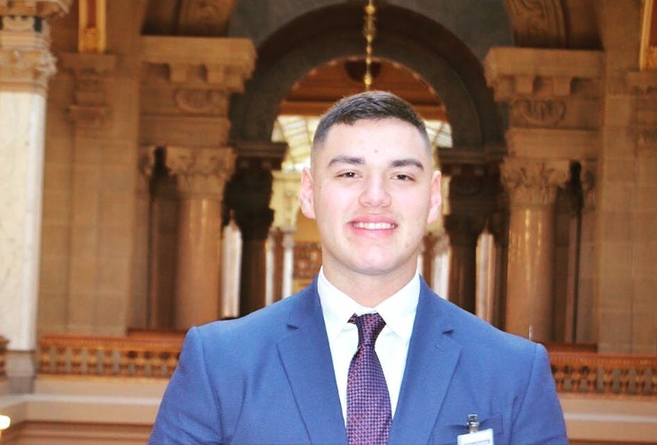 Sophomore political science major Aiden Medellin interned at the Indiana State House and was paired with Sen. Karen Tallian from December 2017 to March 2018. Medellin was tasked with listening to comments and concerns from people Tallian represents as well as analyzing around 900 surveys regarding various policies. Adien Medellin, Photo Provided
