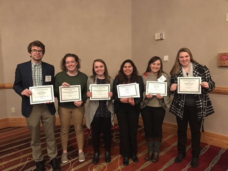 The Daily News staff took home five awards at the Indiana Collegiate Press Association-Hoosier State Press Association College Division Contest Dec. 2. Lisa Renze-Rhodes, Photo Provided