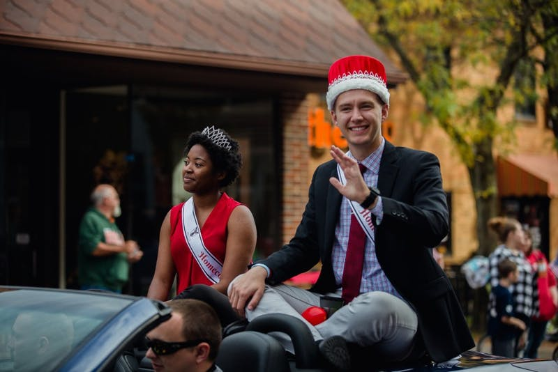 """The annual Homecoming Parade traveled from Muncie Central High School through campus on Oct. 21, 2017, to start off the day's Homecoming festivities. Local businesses, community leaders and campus organizations created floats to go along with the year's theme """"Around the World."""" Reagan Allen, DN"""
