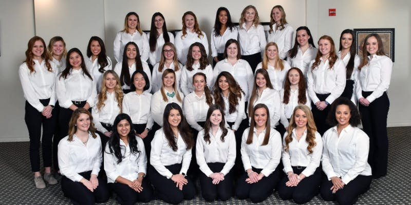 This year, two of the 33 500 Festival Princesses will represent Ball State, Justice Amick (front row far right) and Heidi Przytulski (back row far right.) Every year, more than 300 applications are collected. 500 Festival, Photo courtesy
