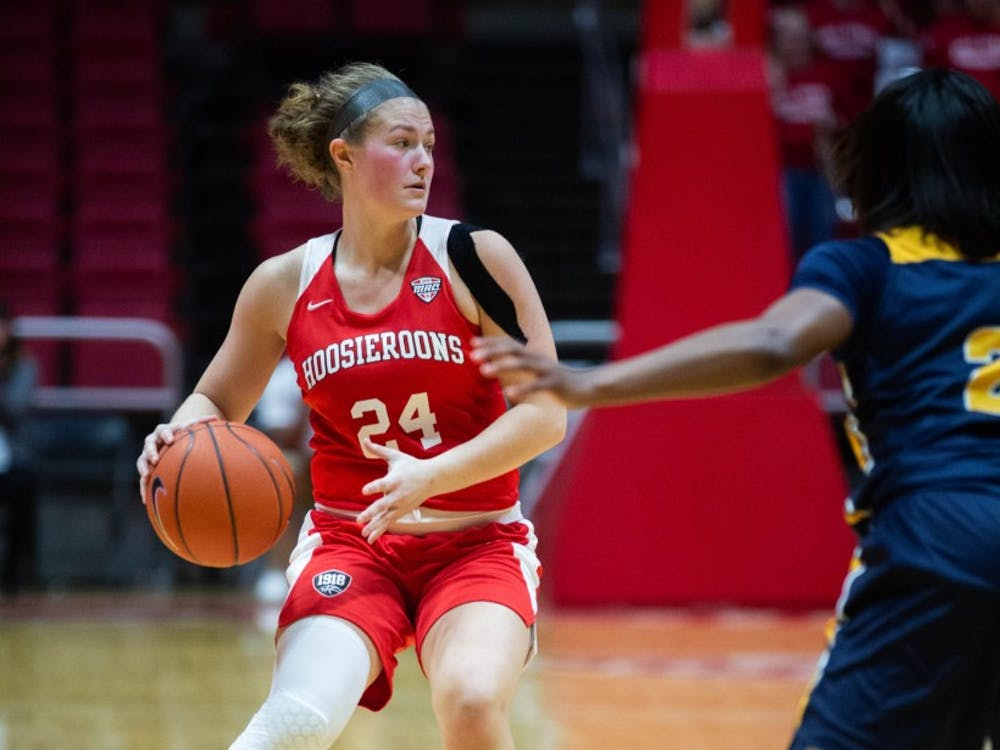 Senior Jasmin Samz moves forward with the ball Feb. 23, 2019 in John E. Worthen Arena during the game against Toledo. The Rockets beat out the Hoosieroons 63-62. Scott Fleener, DN