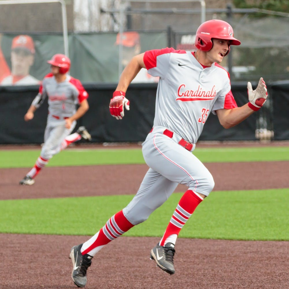 Senior outfielder Matt Eppers sprints towards third base during the game against Valparaiso on April 11 at Ball Diamond in the First Merchants Ballpark Complex. The Cardinals won 11-2 bringing their win streak up to 4 games. Kyle Crawford // DN