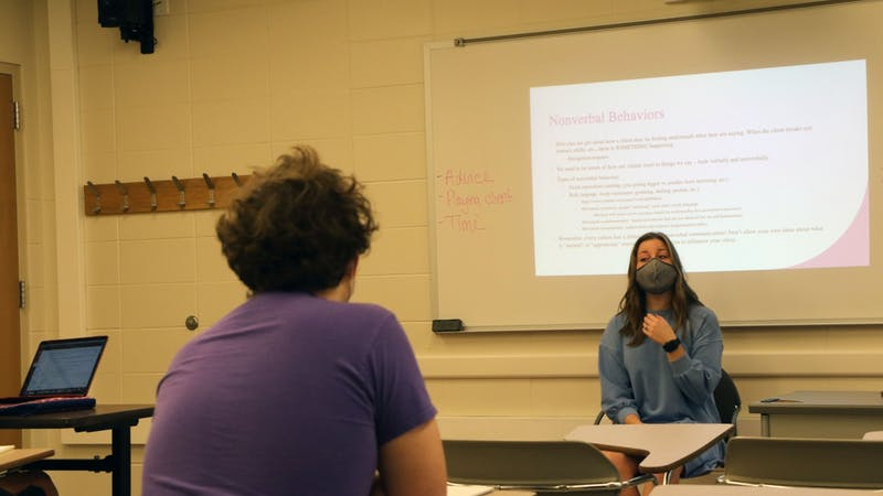 Claire Dugan, counseling psychology doctoral student, teaches the Techniques of Psychological Interactions course Sept. 15. During her class, Dugan teaches a variety of techniques, including roleplaying counseling sessions, lecturing and showing videos. Maya Wilkins, DN
