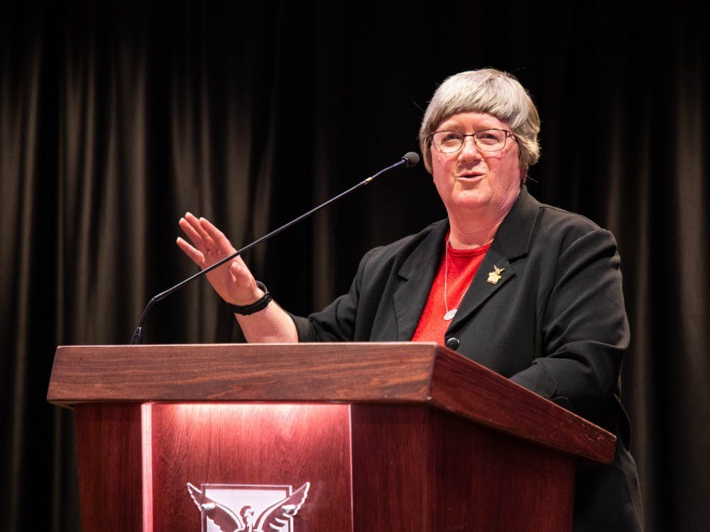 Marilyn Buck, senior adviser to the president and Ball State liaison to Muncie Community Schools, speaks during her retirement reception May 16, 2019, at Cardinal Hall. Buck has served Ball State for 30 years in different roles. Britney Kendrick, DN