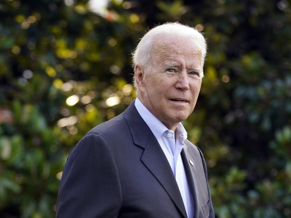 President Joe Biden walks out from the White House in Washington, D.C., before his departure to Surfside, Florida, on Thursday, July 1, 2021. (Yuri Gripas/Abaca Press/TNS)