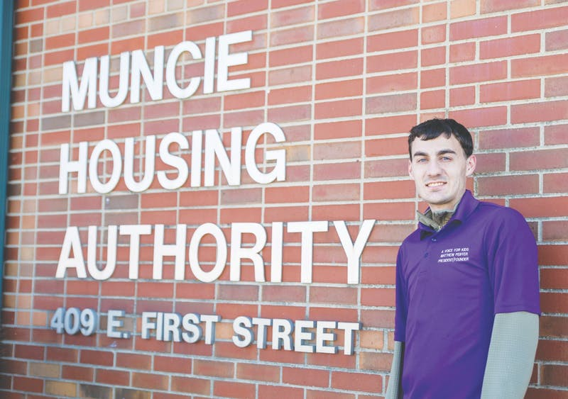 Ball State social work major Matt Peiffer poses for a photo outside the Muncie Housing Authority building March 7, 2021. Peiffer has been lobbying the Muncie Housing Authority since August 2019 to accept Foster Youth to Independence vouchers. Jaden Whiteman, DN