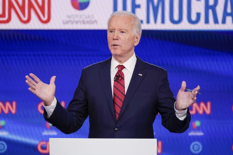 In this March 15, 2020 file photo, former Vice President Joe Biden, participates in a Democratic presidential primary debate at CNN Studios in Washington. Joe Biden swept to victory in Florida, Illinois and Arizona on Tuesday, increasingly pulling away with a Democratic presidential primary upended by the coronavirus and building pressure on Bernie Sanders to abandon his campaign. (AP Photo/Evan Vucci, File)