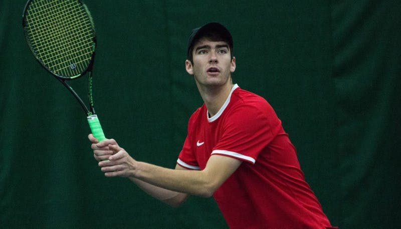 Senior Andrew Stutz won in straight sets during the match against Eastern Illinois' Jared Woodson on Jan. 22 at Muncie's Northwest YMCA. Ball State takes on Western Michigan on Friday, March 23 and Toledo on Saturday, March 24. Grace Ramey // DN File