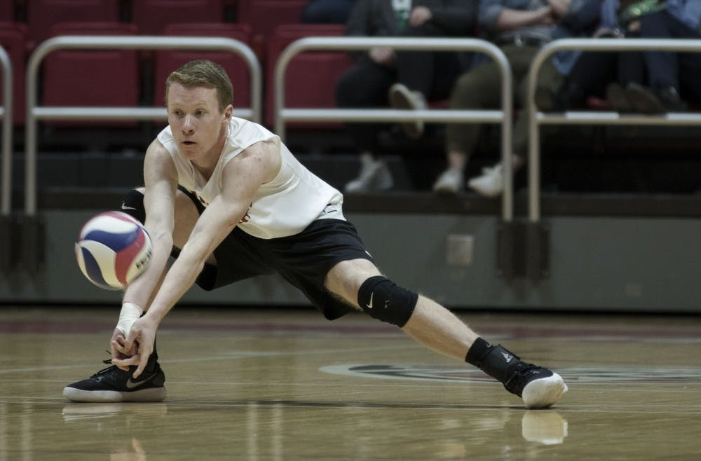 <p>Freshman outside hitter Ben Chinnici receives a serve during their match against Fort Wayne at John E. Worthen Arena on March 17. On offense, Chinnici had six kills during the game. <strong>Rachel Ellis, DN&nbsp;</strong></p>