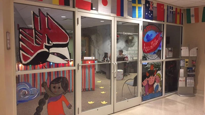The Rinker Center for International Programs is celebrating this year's Homecoming them 'Cardinals Around the World' with window art. The center has received a lot of attention due to the theme. Samantha Johnson, Contributed