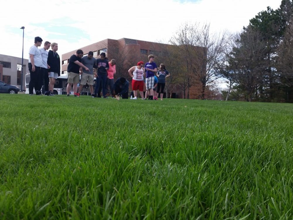 """Spectrum is hosting Spring Week,aweek of events meant to bring the LGBT community closer.. One of theiractivitieswasthe Rainbow Games, which included a four legged race, dizzy bat races, a """"big pants"""" game, and a hula hoop chain competition.DN PHOTO LAURA ARWOOD"""