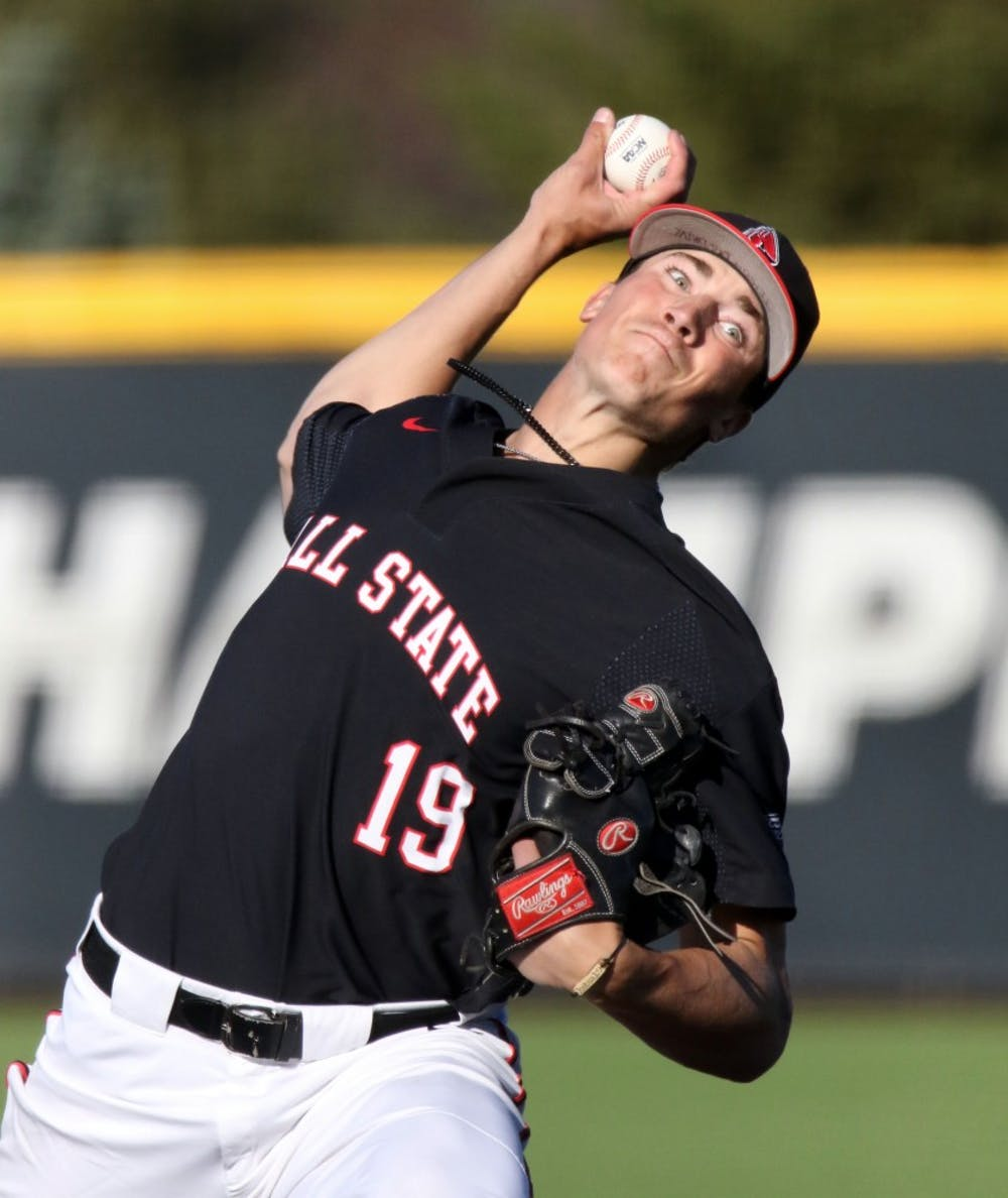 Ball State sophomore right-hander Kyle Nicolas pitches in the ninth inning of the Cardinals' game against Butler April 9, at Ball Diamond at First Merchant's Ballpark Complex in Muncie. The Cardinals won 12-5. Paige Grider, DN