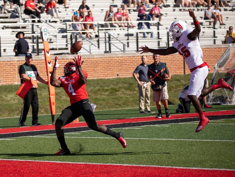 Ball State senior wide reciver Malik Dunner (4) catches a pass against Florida Atlantic at Scheumann Stadium Sept. 14, 2019. The Eagles beat the Cardinals, 41-31. Jacob Musselman, DN