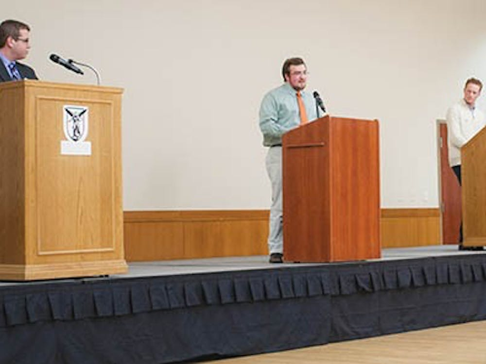The SGA slate presidents discuss issues during the SGA Presidential Debate last Thursday. The full slate debate will be at 8 p.m. tonight in Pruis Hall. DN PHOTO JONATHAN MIKSANEK