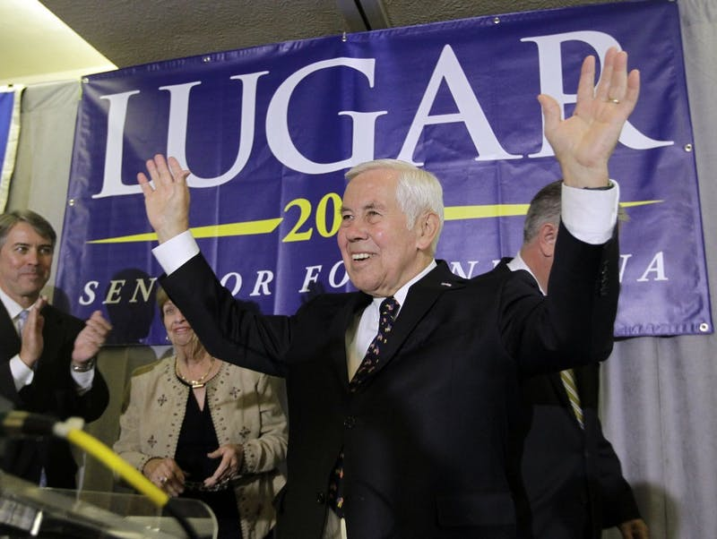FILE - In a May 8, 2012 file photo, Sen. Richard Lugar reacts after giving a speech, in Indianapolis. Former Indiana Sen. Richard Lugar, a Republican foreign policy sage known for leading efforts to help the former Soviet states dismantle and secure much of their nuclear arsenal, died Sunday, April 28, 2019 at the Inova Fairfax Heart and Vascular Institute in Virginia. He was 87. (AP Photo/Darron Cummings, File)