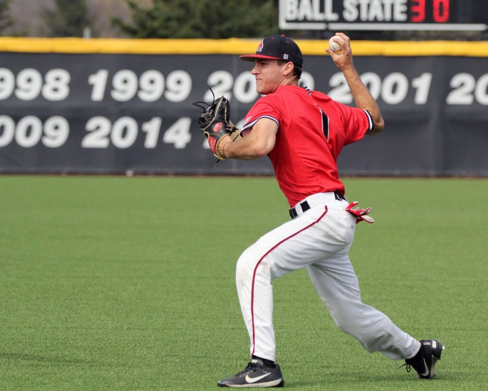 Second baseman Seth Freed throws the ball to first during the Cardinals' game against Kent State on March 24 at Ball Diamond. Ball State allowed two runs in the third. Paige Grider // DN