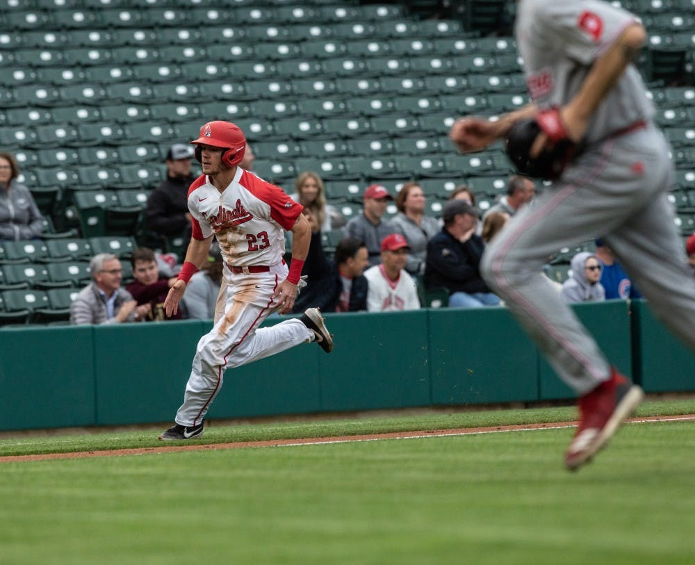 <p>Junior right fielder Ross Messina rounds third base to score at home third inning &nbsp;at Victory Field in Indianapolis April 23, 2019. Messina was the only Cardinal to have multiple hits in the game. <strong>Rebecca Slezak, DN</strong></p>