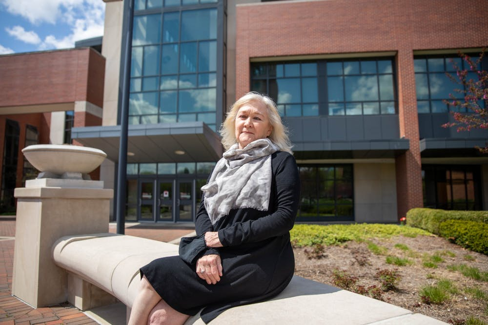 <p>Janet Fick, associate lecturer of construction management, poses for a photo April 19, 2021, outside the David Letterman Communication and Media Building. Fick has been the instructor for Leadership in Energy and Environmental Design (LEED) Lab since its creation in 2015. <strong>Jaden Whiteman, DN</strong></p>