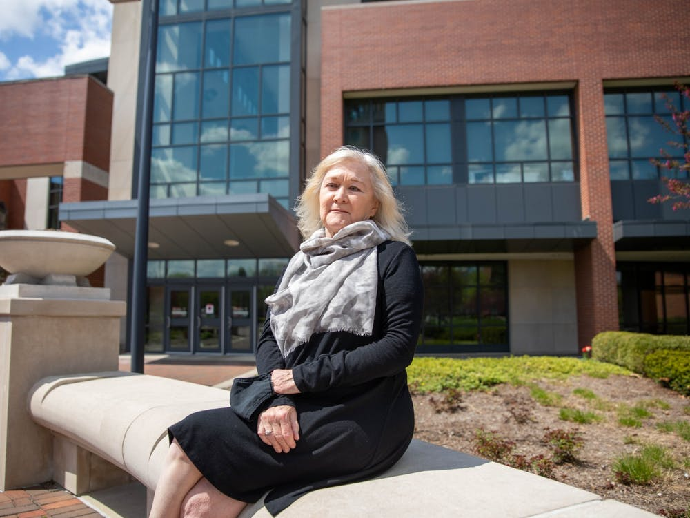 Janet Fick, associate lecturer of construction management, poses for a photo April 19, 2021, outside the David Letterman Communication and Media Building. Fick has been the instructor for Leadership in Energy and Environmental Design (LEED) Lab since its creation in 2015. Jaden Whiteman, DN