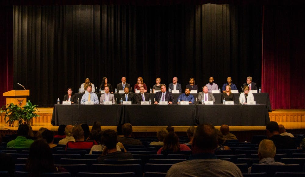 <p>Ball State's candidates for Muncie Community School Board spoke at a public forum Tuesday, June 12, at Muncie Central High School. <strong>Stephanie Amador, DN</strong></p>