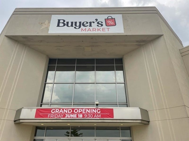 The outside of the Muncie Mall's newest store, Buyer's Market, is seen with its grand opening banner. The Muncie-Delaware County Chamber of Commerce hosted a ribbon-cutting June 18, 2021. City of Muncie, Photo Provided