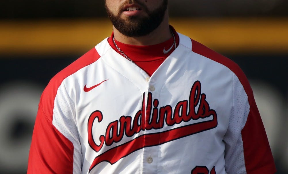 <p>Ball State senior first baseman John Ricotta during the Cardinals' game against Purdue March 19, 2019, at Ball Diamond at First Merchants Ballpark Complex in Muncie. Ball State won, 6-0. <strong>Paige Grider, DN</strong>&nbsp;</p>