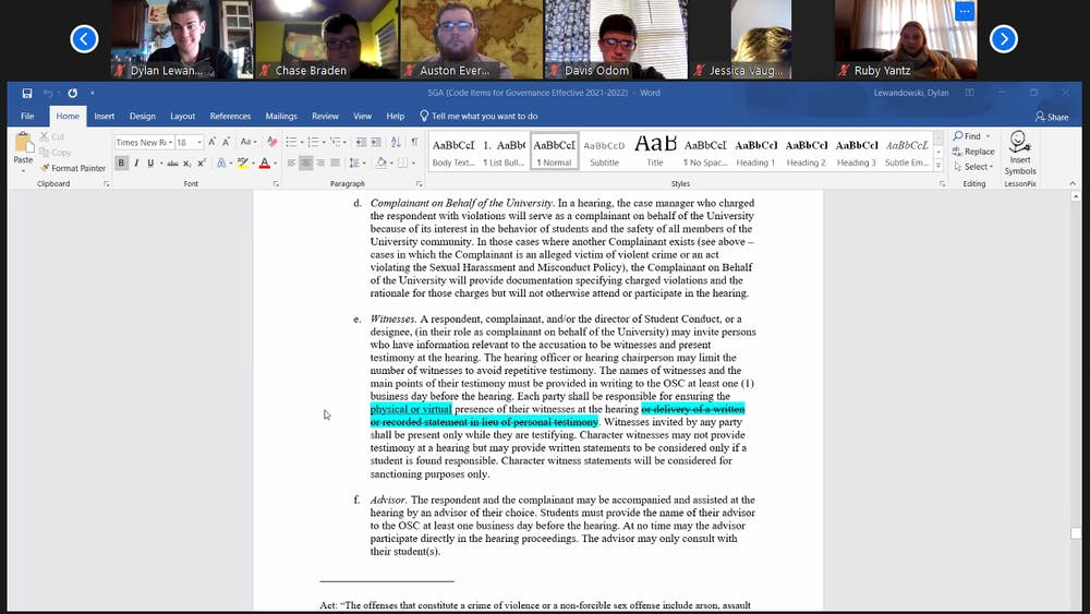 <p>Mike Gillilan, Ball State director of student conduct, presents the changes to the Student Code of Rights and Responsibilities at the Dec. 2 student government association Zoom meeting. The senate passed the changes with a vote of 36-1, with no abstentions. <strong>Maya Wilkins, Screenshot Capture</strong></p>