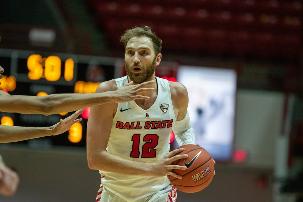 <p>Redshirt senior guard Brachen Hazen holds the ball Dec. 5, 2020, in Worthen Arena. Hazen had 1 assist against the University of Illinois at Chicago Flames. <strong>Jaden Whiteman, DN</strong></p>