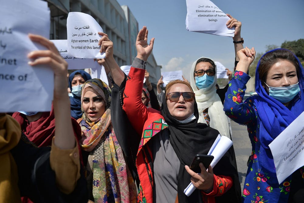 <p>Afghan women take part in a protest march for their rights under Taliban rule, in the downtown area of Kabul on Sept. 3. The Taliban has a history of oppressing women by only allowing them in public while dressing modestly and being escorted by a male relative. <strong>Hoshang Hashimi/AFP via Getty Images/TNS, Photo Courtesy</strong></p>