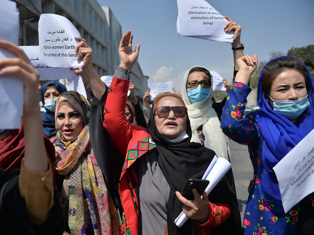 Afghan women take part in a protest march for their rights under Taliban rule, in the downtown area of Kabul on Sept. 3. The Taliban has a history of oppressing women by only allowing them in public while dressing modestly and being escorted by a male relative. Hoshang Hashimi/AFP via Getty Images/TNS, Photo Courtesy