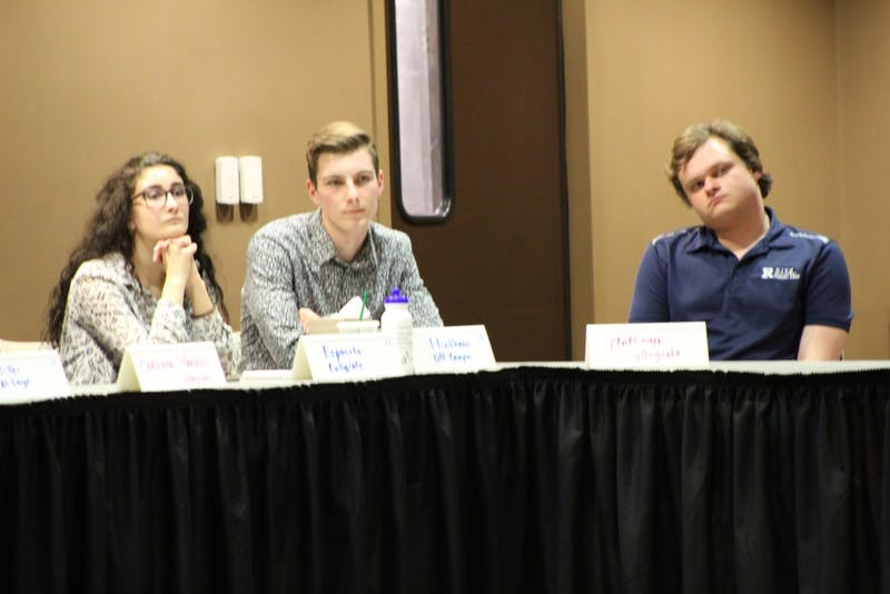 (Left to right) Senators Gina Esposito, Matt Hinkleman and Andy Hoffman await to hear voting results for a nominated senator. On April 24 at the L.A. Pittenger Student Center, Student Government Association (SGA) nominated and voted on potential senators for Fall 2019 SGA. Charles Melton, DN.