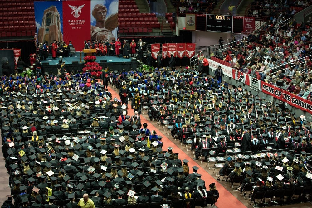 <p>Ball State graduates, staff, faculty and families fill John E. Worthen Arena for winter commencement Dec. 14, 2019. Worthen Arena will host summer 2021 gradautes July 24, 2021. <strong>Charles Melton, DN File</strong></p>