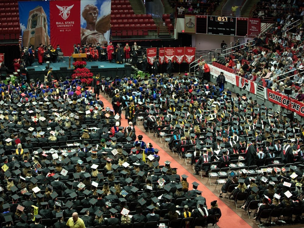 Ball State graduates, staff, faculty and families fill John E. Worthen Arena for winter commencement Dec. 14, 2019. Worthen Arena will host summer 2021 gradautes July 24, 2021. Charles Melton, DN File