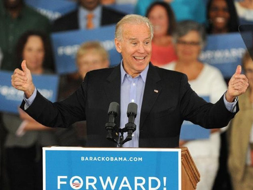 Vice President Joe Biden gives two thumbs up as he speaks to supporters gathered during a campaign rally Wednesday, October 31, 2012, at the Sarasota Municipal Auditorium in Sarasota, Florida. Grant Jefferies/Bradenton Herald/MCT