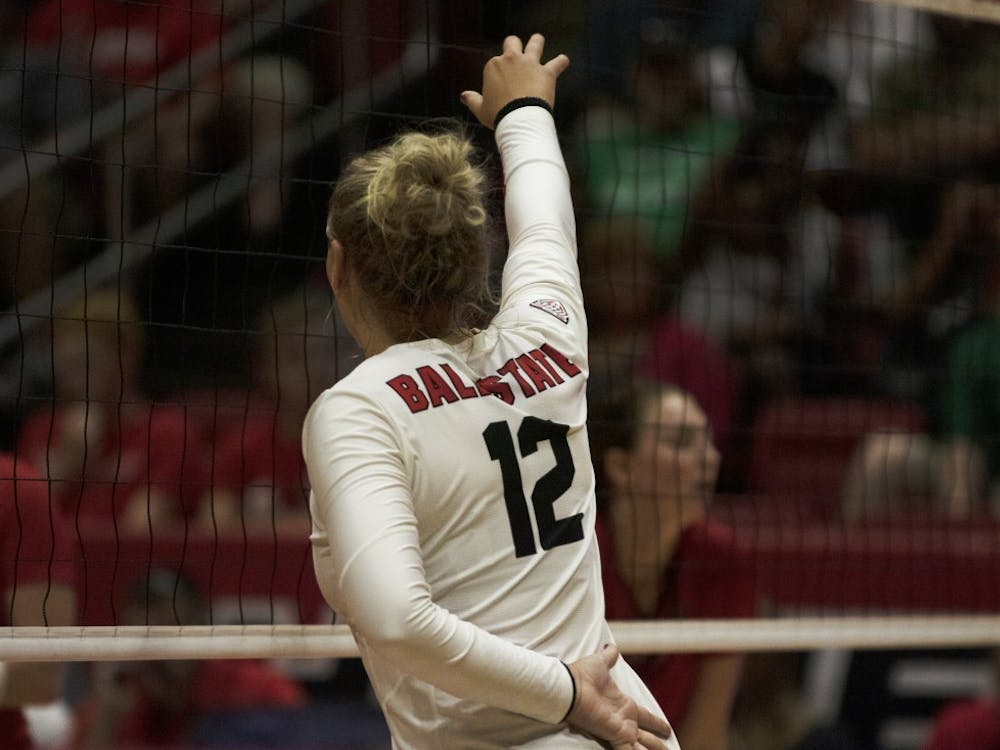 Ball State Women's Volleyball player, Sydnee VanBeek (12), gets in position during the first set of their match against Austin Peay on September 20th, 2019. Ball State beat Austin Peay 3-0. Jaden Whiteman, DN