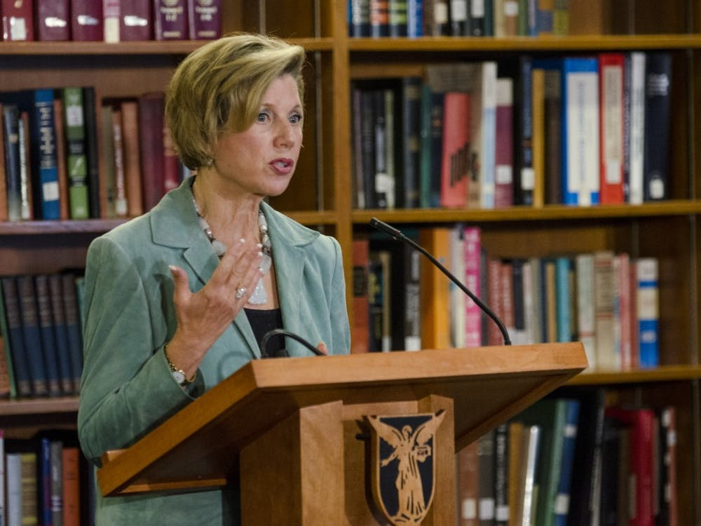 Ball State University President Jo Ann Gora talks to the media about her resignation on Oct. 28 at the L.A. Pittenger Student Center music lounge. Gora's replacement will likely be handled by a private search within the next eight months. DN PHOTO COREY OHELNKAMP