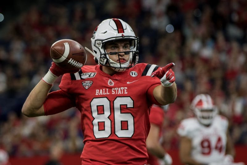 Ball State wide receiver Riley Miller look for a referee to give the ball to Aug. 31, 2019, after getting a first down for the Cardinals at Lucas Oil Stadium. The cardinals were defeated by Indiana University for the first game of the season. Eric Pritchett, DN