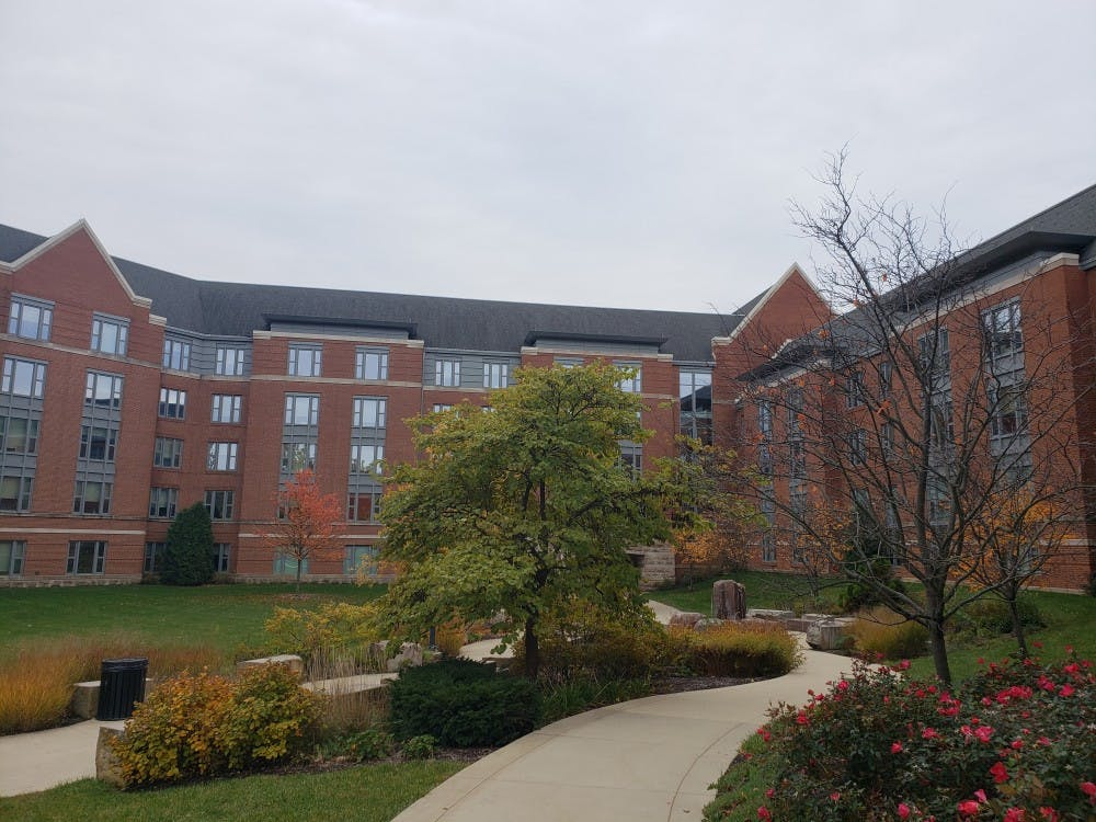 Clouds overcast the sky at Park Complex Nov. 2, 2018. Park is one of many gender neutral housing options on campus. Scott Fleener, DN