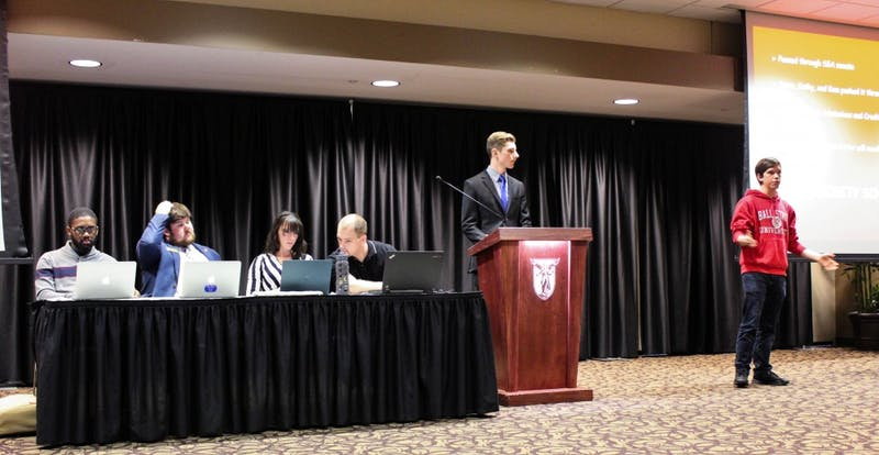 (Left to right) Amplify slate members Jalen Jones, Student Government Association (SGA) treasurer; Jake Biller, SGA parliamentarian; Kyleigh Snavely, SGA secretary; Kameron Bontrager, SGA president pro tempore; and Isaac Mitchell, SGA president give the final platform point update at the senate meeting April 3, 2019 at the L.A. Pittenger Student Center. The slate reported that it has completed 14 of 16 platform points. Charles Melton, DN