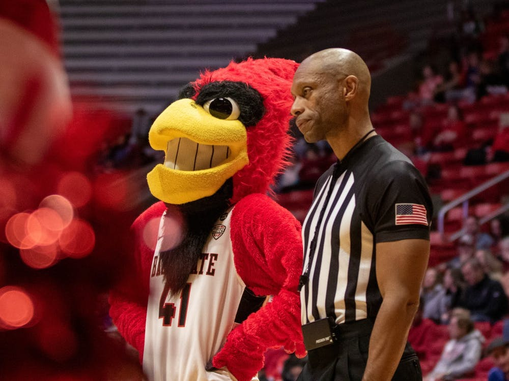 Charlie Cardinal talks with a referee during the Ball State men's basketball game against Loyola University Chicago on Dec. 3, 2019, in John E. Worthen Arena. Ball State lost 70-58. Jaden Whiteman, DN
