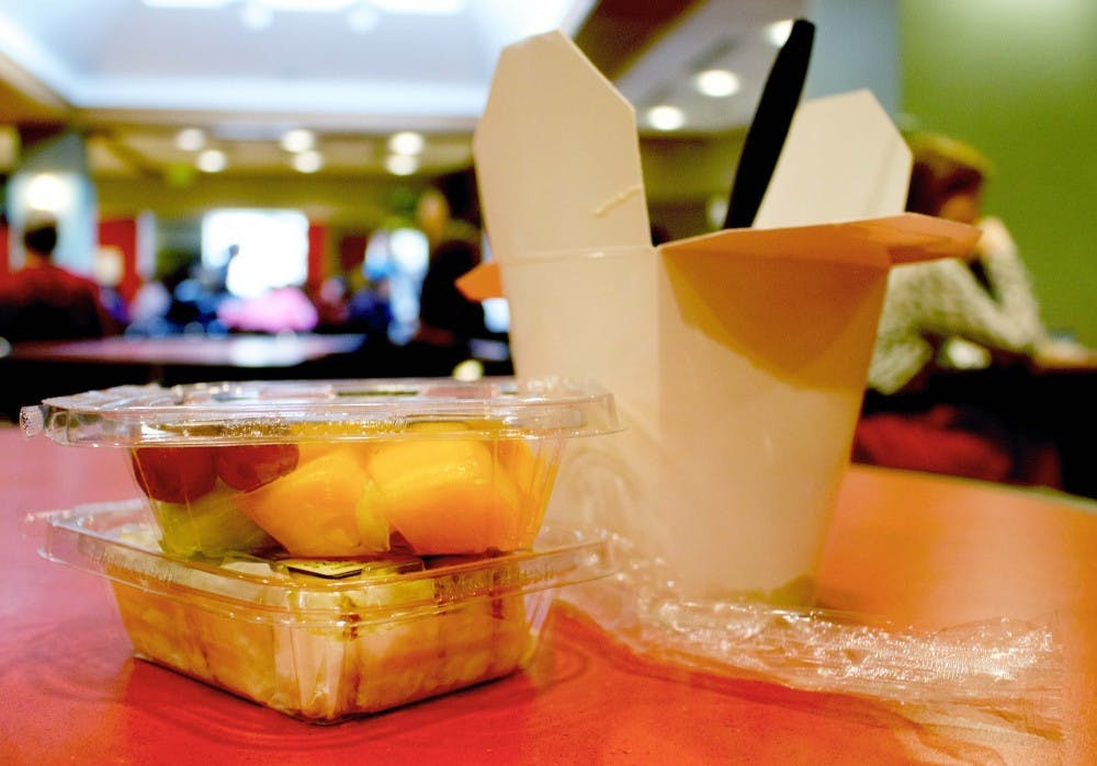 <p>Dining options are put in containers when made to-go. All food options will be available to-go for the semester. <strong>Rebecca Slezak, DN.</strong></p>