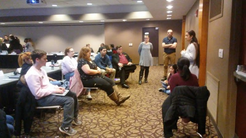 On-Campus Chair Miryam Bevelle speaks to her caucus during a five minute meeting at the Student Government Association (SGA) meeting Wednesday, Feb. 13, 2019, in the L.A. Pittenger Student Center. SGA slate Amplify has now completed 10 out of 16 platform points, with three points still in University Governance. Charles Melton, DN