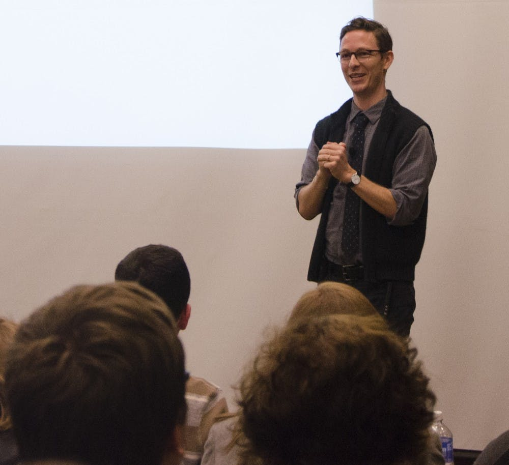 Author Eliot Schrefer talked to Ball State students as a featured speaker of the Marilyn Cory Speaker Series on March 10 at the Art and Journalism Building. DN PHOTO KELSEY DICKESON.
