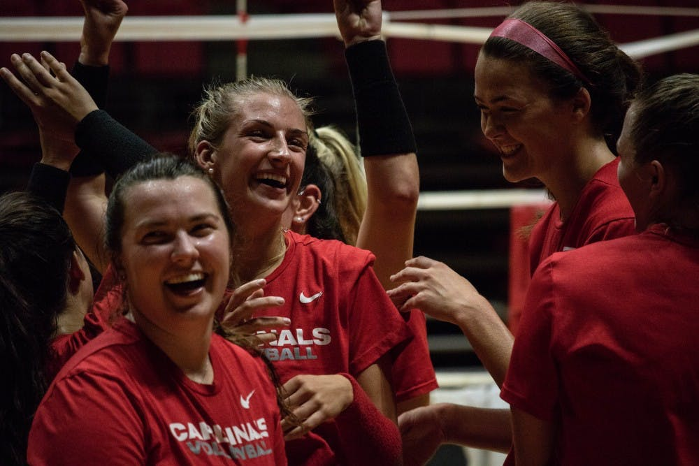 Ball State University Woman's Volleyball team celebrates during practices after completing a drill Wednesday, Sept. 5, 2018 at Worthen Arena. The team will play in the Active Ankle Challenge this weekend. Rebecca Slezak,DN